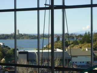 Looking out over Lake Pupuke and Auckland's Waitemata Harbour