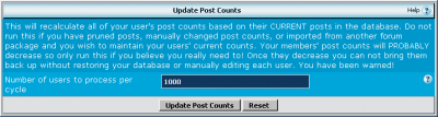 Update the vbulletin post count